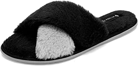 DREAM PAIRS Women's Soft Fuzzy Fluffy Slip on Indoor House Slippers