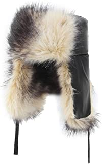 b820cae39bb1c DOSOMI Man Winter Bomber Hats with Warm Russian Hat Pu Leather Faux Fur Warm  Earmuffs Bomber