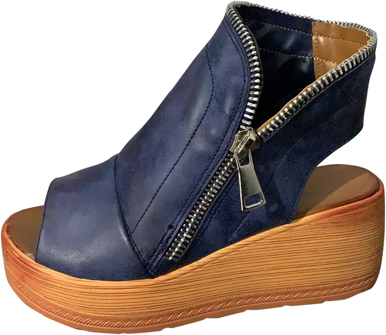Women's Casual Platform Sandals Solid Color Zipper Shoes Fashion