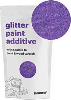 Hemway (Purple) Glitter Paint Additive Crystals 100g/3.5oz for Acrylic Latex Emulsion Paint - Interior Exterior Wall, Ceiling, Wood, Varnish, Dead flat, Matte, Gloss, Satin, Silk
