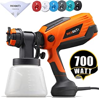 REXBETI 700 Watt High Power Paint Sprayer, 1000ml/min Hvlp Home Electric Spray Gun with 1000ml Container, Easy Spraying an...