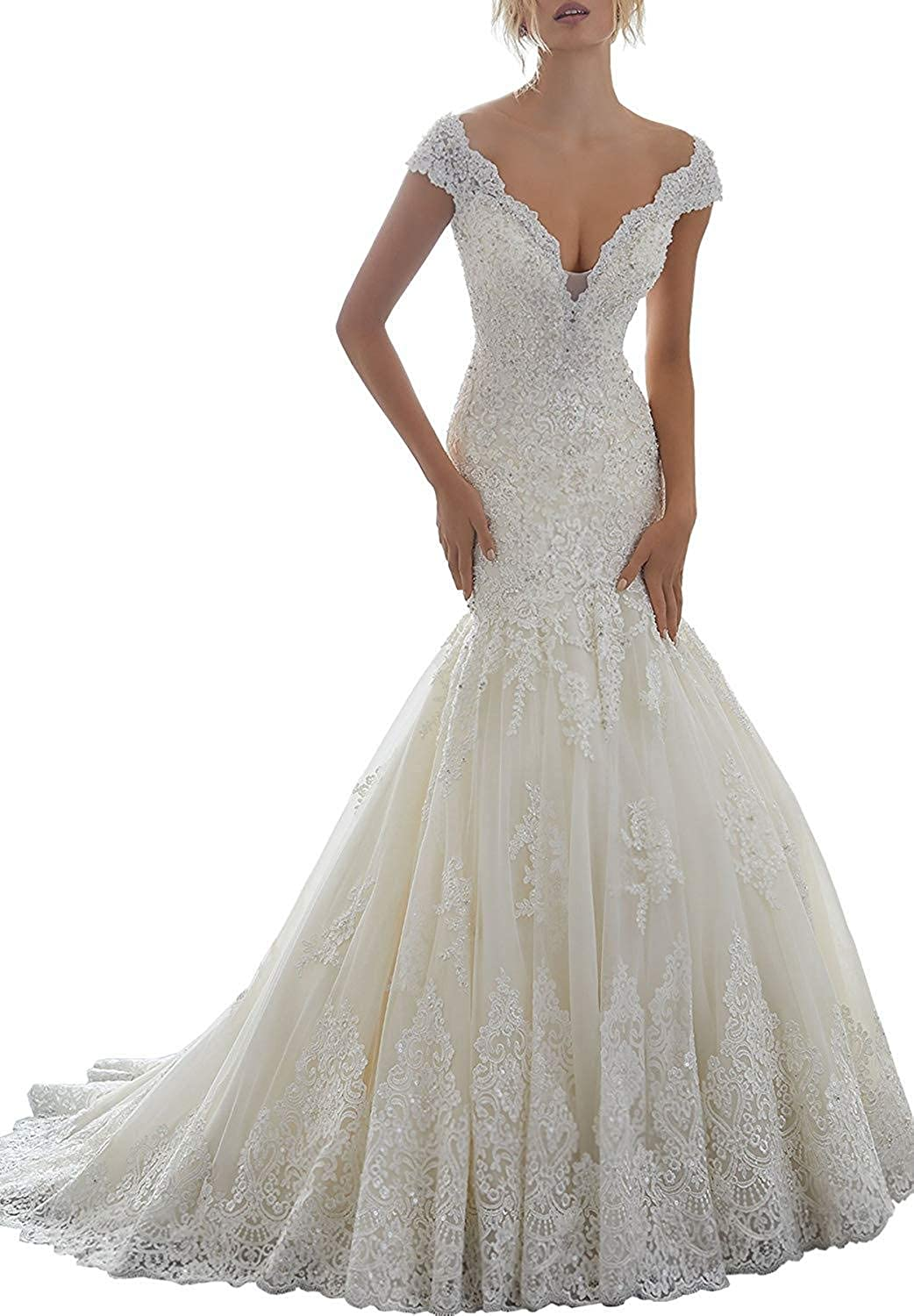 XingMeng Sexy V necl Lace Tulle Mermaid Wedding Dress Beaded Backless Bridal Gowns