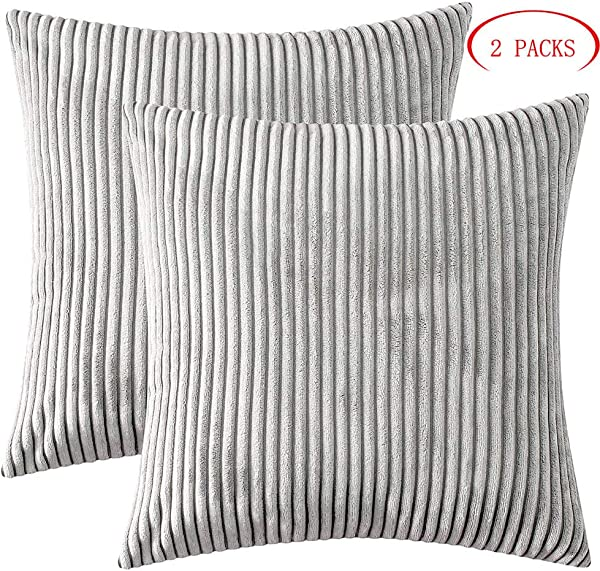 GirlyGirl Boutique Decorative Throw Pillow Covers Cozy Soft Corduroy Striped Light Grey Pillow Covers For Couch Bed Chair 18 X 18 Inches Pack Of 2