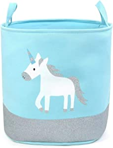 Topyuan Toy Storage Organizer Bins  Baby Cotton Canvas Pop Laundry Hamper Basket with Handle for Baby Nursery Boys and Girls Bedroom Decor  Little Horse