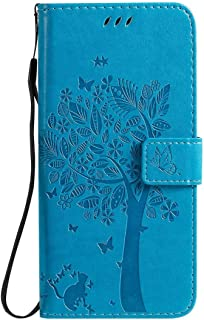 Hllycr LG K20 2019 Leather Cases for girls Flip Kickstand Case with Card Slots Protective Cover for LG K20 2019 - Blue