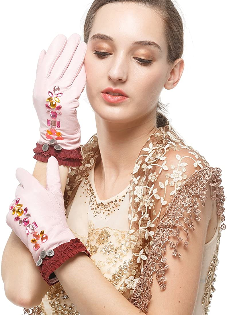 Nappaglo Women's Genuine Lambskin Leather Gloves Winter Warm Colorful Crystal Short Gloves