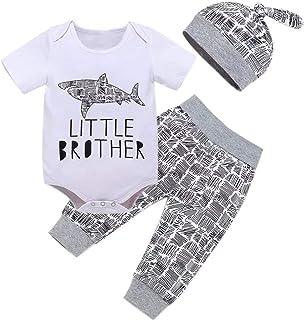 Baby Boy Clothes Newborn Outfits 3Pcs Romper Short Sleeve Tops+ Camo Pants+Hat