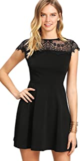 Women's Cap Sleeve Lace Neck A Line Skater Dress