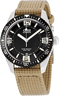 Oris Men's 'Divers65' Swiss Automatic Stainless Steel and Canvas Casual Watch, Black (Model: 73377074064LS22)