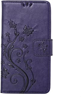 Flip Case Cover For Samsung Galaxy S5 SC-04F SCL23 i9600 Tree Butterfly Pattern PU Leather Wallet Card Slot Case- Purple