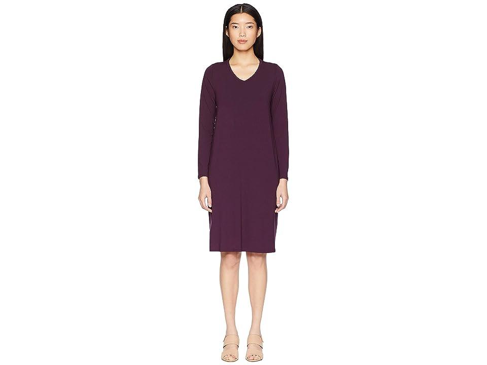 Eileen Fisher Viscose Jersey V-Neck Dress (Raisonette) Women