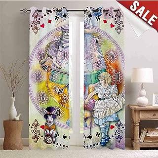 in Wonderland, Blackout Window Curtain, Magical Fantasy World of Adventure Clock Flamingo Cheshire Cat Rabbit Retro, Customized Curtains, W96 x L108 Inch Multi
