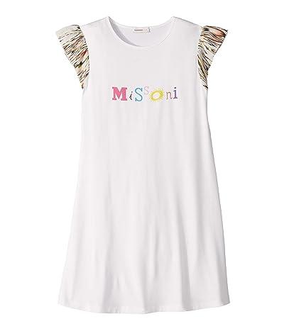 Missoni Kids Logo Print T-Shirt Dress (Big Kids) (White) Girl