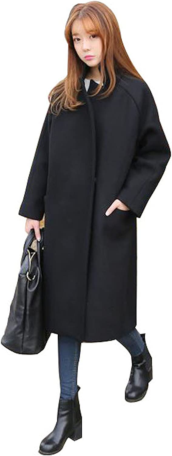 Peachy Baby Women's Black Wool Trench Coat for Winter