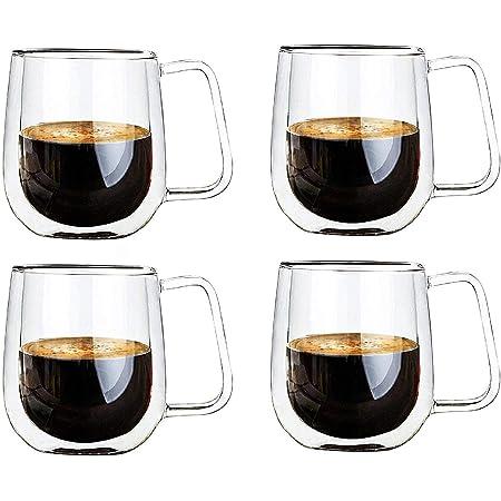 Vicloon Tasse Double Paroi,Double Paroi Verre à Café,Tasses en Verre Borosilicate,pour Thé,Café,Lattes,Cappuccino,Espresso,Bière,250 ml (normal-4 pcs)