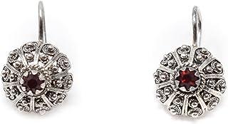 Marrocu Gioielli - Orecchini argento bottone iglesiente con pietra