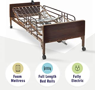 Full Electric Hospital Bed with Premium Foam Mattress and Full Rails Included - for Home Care Use and Medical Facilities - Fully Adjustable, Easy Transport Casters, Remote - 80