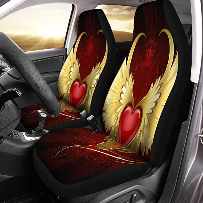 Semtomn Set of 2 Car Seat Covers Wing Angel Winged of This Furnished by NASA Archangel Universal Auto Front Seats Protector Fits for Car,SUV Sedan,Truck