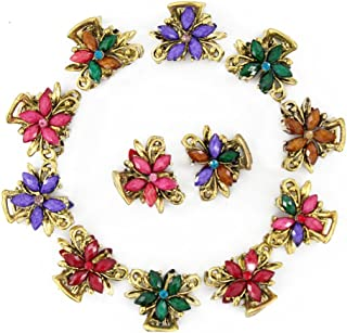 Yeshan Set of 12pcs Vintage Flower Design Metal Mini Jaw Clip,With Rhinestone and Crystal Claw Hair Clip