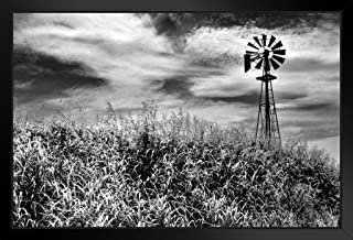 Timeless Windmill Texas Hill Country Rural Scene Photo Black Wood Framed Art Poster 20x14