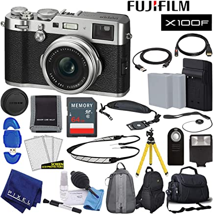 $1299 Get Fujifilm X100F X-Series 24.3 MP Point & Shoot Digital Camera (Silver) with Cleaning Kit, 64GB Card and More Advanced Bundle