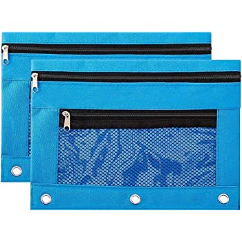 Pencil Pouch 3 Ring Zipper Pencil Pouch with Double Pocket and Mesh Window Blue,2 Packs