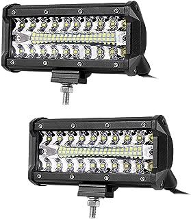 12volt Led Lights,7inch Led Light Bar 120W 12000 LM Triple Row Light Bar Off Road Driving Led Work Lights for UTV ATV Jeep Truck Boat Waterproof, 2PACKS