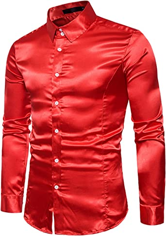 Boom Fashion Hombre Camisas de Manga Larga Casual Slim Brillante Tops