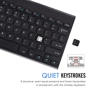 Arteck 2.4G Wireless Keyboard Stainless Steel Ultra Slim Keyboard for Computer/Desktop/PC/Laptop/Surface/Smart TV and...