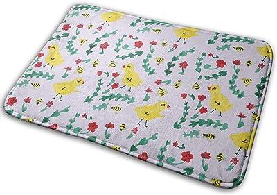 Watercolor Chicken and Bee Carpet Non-Slip Welcome Front Doormat Entryway Carpet Washable Outdoor Indoor Mat Room Rug 15.7 X 23.6 inch