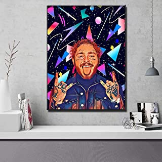 Rappers Famous People Hand Drawn Canvas Wall Art Home Decor (18in x 24in Framed, Post Malone #2)