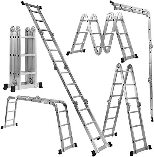 lowest Giantex 7 in outlet sale 1 2021 Folding Extension Ladders, Multi Purpose Platform Extendable Scaffold Aluminum Step Ladder 330LB (12.5 Ft) outlet online sale