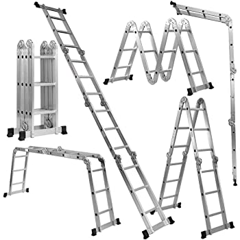 12.5 ft Folding Ladder Aluminum Multi Purpose Extension Ladders Building Supplie