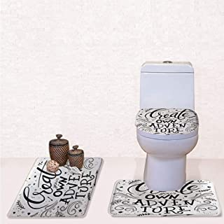 Print 3 Pieces Bathroom Rug Set Contour Mat Toilet Seat Cover,Create Your Own Adventure Lettering with Crowded Backdrop Cute Little Hearts Decorative with Black White,decorate bathroom,entrance door,