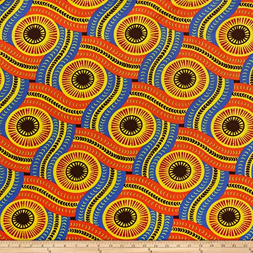Shawn Pahwa African Print DTY Brushed Olothando Fabric, Orange/Yellow, Fabric By The Yard