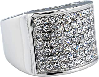 14K White Gold-Plated Iced Micropave Pinky Ring - Stainless Steel