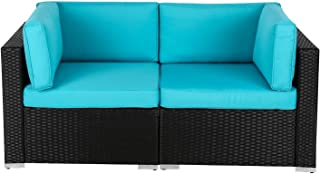 Kinbor 2 PC Wicker Rattan Loveseat Patio Outdoor Wicker Sectional Furniture with Turquoise Cushion