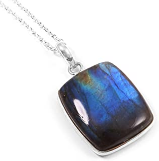 Ratnagarbha Labradorite Necklace, Sterling Silver Chain, Delicate Gemstone Necklace, Pendant Necklace, Birthstone Necklace...