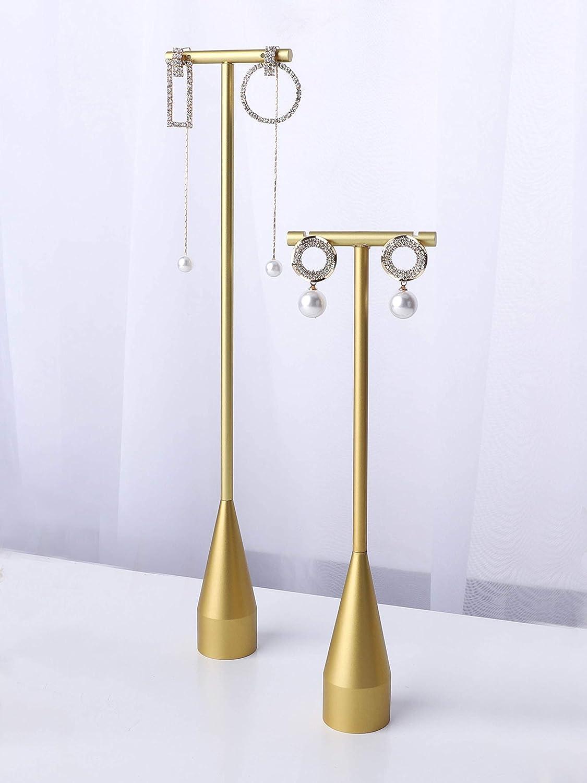 GemeShou 2pcs Gold Metal Earring Nippon regular agency Long-awaited for Oversized Display Stand Ear