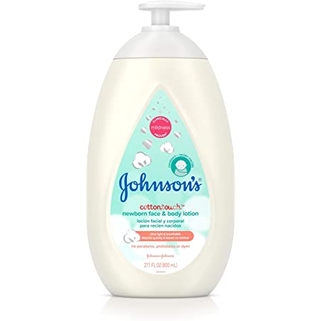 Johnson's CottonTouch Newborn Baby Face and Body Lotion, Hypoallergenic Moisturization for Baby's Skin, Made with Real Cotton, Paraben-Free, Sulfate-Free, Dye-Free, 27.1 fl. oz