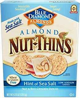 Blue Diamond Almond Nut Thins Cracker Crisps, Hint of Sea Salt, 4.25 Ounce (Pack of 12)
