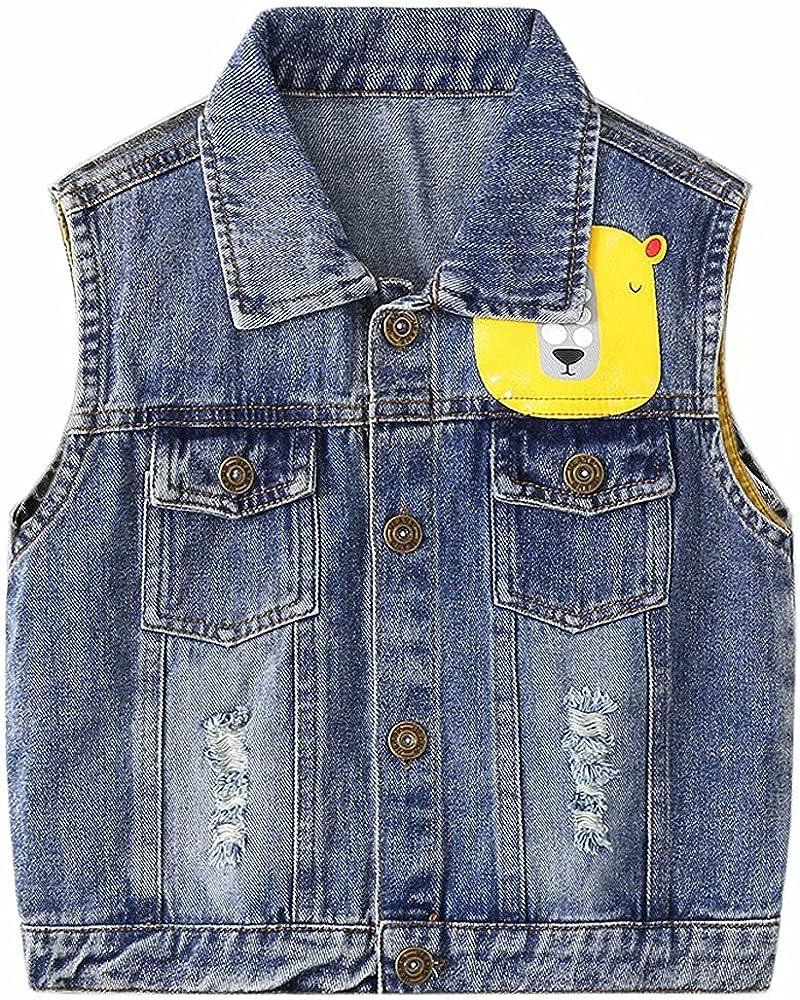 AOWKULAE Boys Sleeveless Loose Over item handling Fit Denim Clearance SALE Limited time Vest Jacket Waistcoat