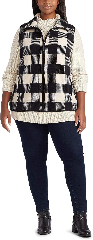 Chaps Women's Plus Sizing Fleece Lined Sherpa Full Zip Vest