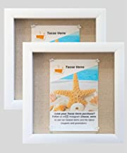 """(2-pack) 8""""x8"""" White Display Shadow Box Frame w/ Linen Background and 16 Stick Pins - Ready To Hang Shadowbox Picture Fram..."""