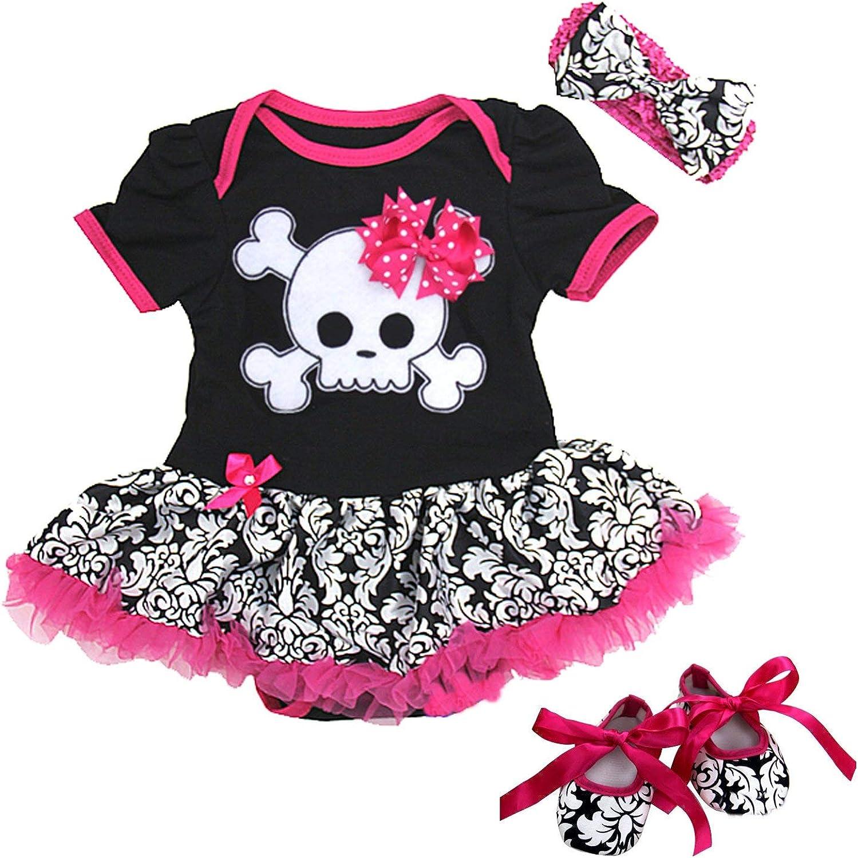 Ameda Baby Black Damask Skull Pirate Bodysuit Tutu
