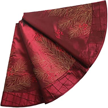 X.Sem Deluxe Embroidered Pine Branches Cherry with Pintuck Border,Extra Large ,Christmas Tree Skirt-50""