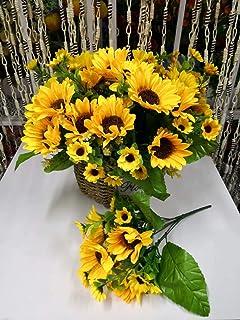 4 Bunches Bouquet Artificial Sunflower Floral Arrangement, Silk Fake Sun Flower Faux Floral Arrangement Artificial Plants ...