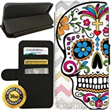 Flip Wallet Case for iPhone 8 Plus (Day of The Dead Pink Chevron Sugar Skull) with Adjustable Stand and 3 Card Holders | Shock Protection | Lightweight | Includes Free Stylus Pen by Innosub