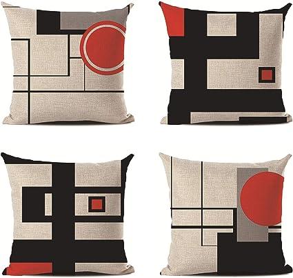 Hengjiang Federa Per Cuscino In Cotone E Lino Motivo Geometrico Con Stampa Su Entrambi I Lati 45 X 45 Cm Amazon It Casa E Cucina