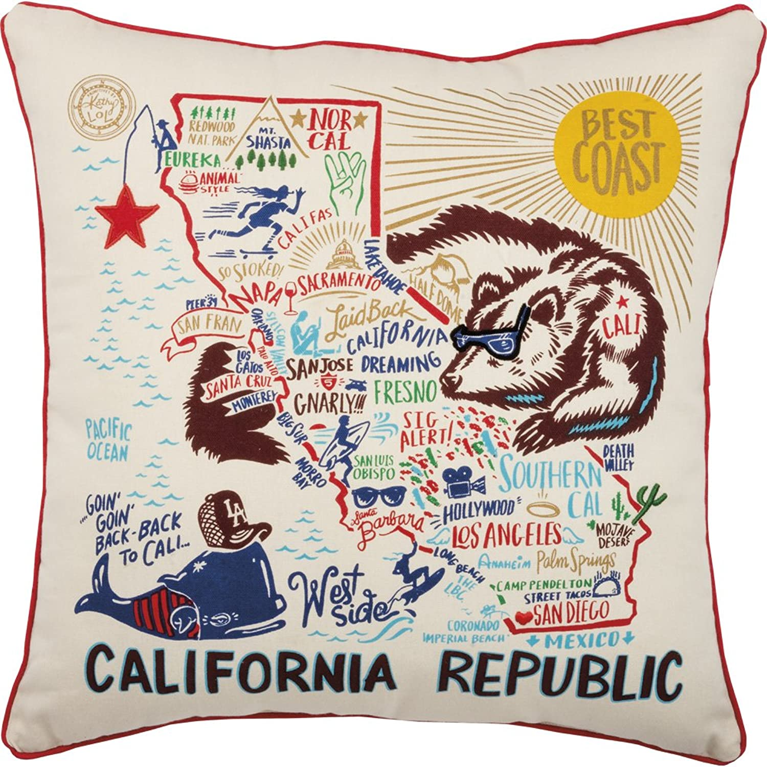 Primitives by Kathy Home State California Republic Decorative Throw Pillow, 20-Inch Square,